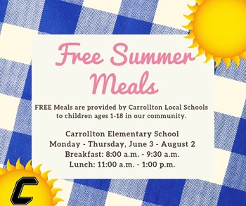 Free summer meals June 3-August 2
