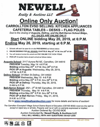Online Auction for Contents of Closing Buildings